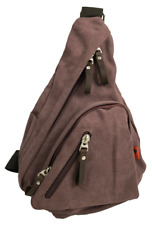 Canvas One Strap Sling Bag with Leather Trim for Men & Women - Pale Plum
