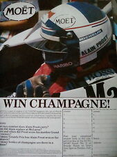 1984 Moet Champagne Advertisement Alain Prost 1 Page from Motor Racing Mag F1