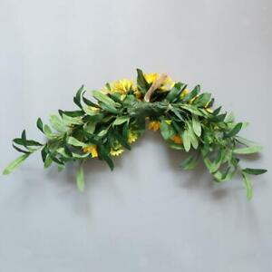 Arch Front Door Wall Decor Wreath Garland Artificial Sunflower Swag Fabric
