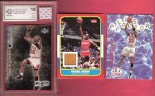 MICHAEL JORDAN FLEER ROOKIE GAME USED FLOOR + GRADED 10 CARD & JERSEY + SUBSET