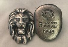 "3oz YPS ""Lion"" 999 fine silver bullion bar Yeager's Poured Silver Antique finish"