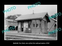 OLD LARGE HISTORIC PHOTO OF BULLVILLE NEW YORK, THE ERIE RAILROAD STATION c1910
