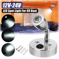 12-24V Interior LED Reading Spot Light Switch RV Camper Caravan Motorhome Boat