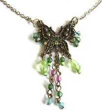 Beautiful Green Blue BUTTERFLY Rhinestone Bead Detailed NECKLACE