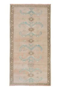 """Distressed Area Rug Hand Knotted Colorful Low Pile Oushak Rug 3'4"""" X 6'8"""""""