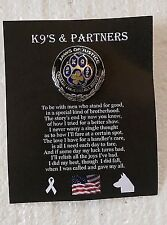 """K9 & PARTNER Pewter Vest / Hat Pin with Military Locks 1-1/8"""" Jaws of Justice"""
