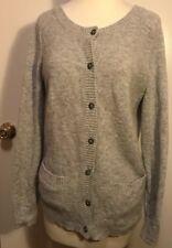 Pendleton Womens Light Gray Lambs Wool Blend Button Up Cardigan Sweater SZ S