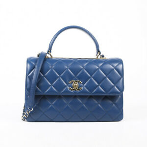 Chanel Blue Trendy CC Leather Quilted Top Handle Bag SZ Medium
