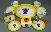 Retro/vintage 60s-70s tinplate toy tea set cat motif Made in China