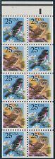 "#2285Ac ""BIRDS"" BOOKLET PANE OF 6 BLACK SHIFTED ERROR BS693"