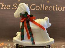 Flambro White Ceramic Porcelain Rocking Horse in Original Box Euc Holiday Decor