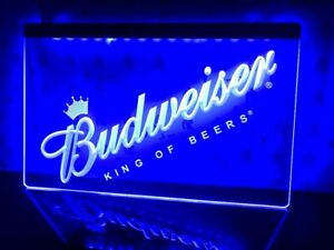 Budweiser Blue King Of Beers Sign Light Advertisement Neon Man Cave Pub Beer