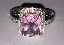 Women's 14K White Gold Ring Emerald Cut Pink Topaz Solitaire & Diamond Accents
