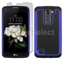 Hybrid Rubber Case+LCD Screen Protector for Android Phone LG K7 / Tribute 5 Blue