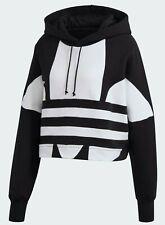 NWT Adidas Original Large Trefoil Logo Cropped Hoodie Sweatshirt - Medium FS1314