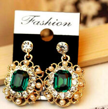 Diamond Rhinestone Retro Vintage Earrings Elegant Gold Emerald Green Jewel Pearl