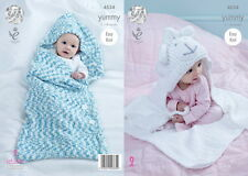 King Cole Baby Cocoon & Hooded Blanket Yummy Chunky Yarn Knitting Pattern 4534