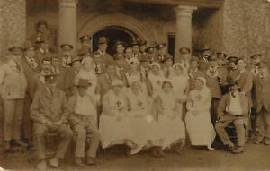 VINTAGE WWI REAL PHOTO WWI WOUNDED SOLDIERS & NURSES POSTCARD, USED - NOT POSTED