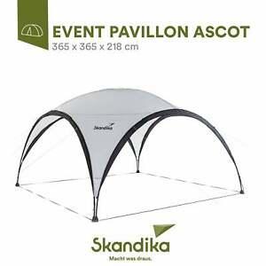 Skandika Event Shelter Ascot Pavillon Partyzelt 365x365 cm hell grau/schwarz NEU