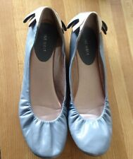 Nine West Women's Light Blue Gold Leather Ballerina Shoes Low Heel Size 10 M