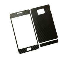 2 X Black Carbon fiber Skin adhesive Sticker For Samsung Galaxy S2 I9100