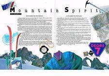 PUBLICITE ADVERTISING  1990   MOUNTAIN SPIRIT  sport ski (2 pages) DEGRE 7