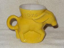Frankoma Pottery Political Mug- Democrat- DEM Donkey- 1975- Yellow- Made in USA