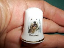 vintage Old English Sheepdog Dog Collectible ceramic Thimble figurine Lim.Ed.