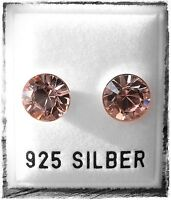 NEU 925 Silber OHRSTECKER 8mm SWAROVSKI STEINE vintage rose/alt-rosa OHRRINGE