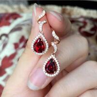 1.50 Ct Pear Cut Red Garnet & Diamond Drop & Dangle Earrings 14K Rose Gold Over