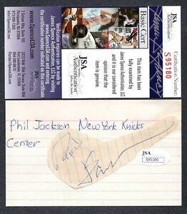JSA Phil Jackson Autographed Signed Index Card New York Knicks TRB 485