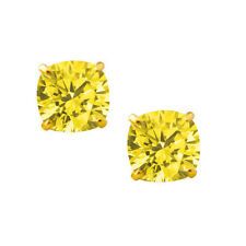 2.00 CARAT 14K SOLID YELLOW GOLD CUSHION CUT CANARY SAPPHIRE STUD EARRINGS