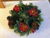 WOW! Vintage Holly Pine Cones Plastic Christmas Wreath Decorations Ornaments