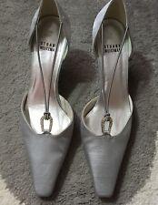 $349 NEW! STUART WEITZMAN •Women 7.5•Silver Kitten Heel Pumps RHINESTONE Wedding