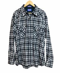 Pendleton Grey 100% Virgin Wool Pearl Snap Western Wear Men's XXL Shirt