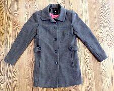 H&M Womens Wool Blend Brown Herringbone Trenchcoat Overcoat Jacket Coat Sz 8 EUC