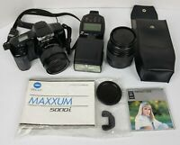 Minolta Maxxum 5000i 35mm Camera Package POWERS ON BUT UNTESTED, AS IS