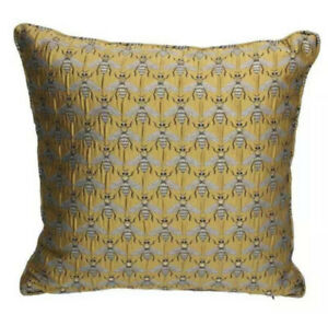 Gold Bee Jacquard Cushion with Pad by Gisela Graham