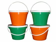 4 One Gallon Buckets Lids 2 ea Green Orange Mfg Usa Lead Free Food Safe