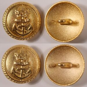 metal gold military nautical crown anchor coat of arms crest shank button 23mm