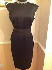 Coast Annora Black Satin Fully Lined Dress/Silk Belt Size 16 RRP £150.00 BNWT