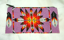 """Beaded Tote Bag Native American design Fabric Lined Zips close 7x3.5"""" PINK"""