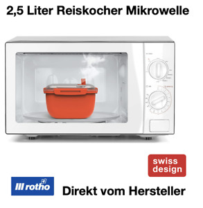 Rotho Reis Kocher Mikrowelle 2,5 Liter Geschirr Ventil Löffel schnell Garer