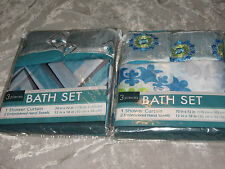Bath Set Fabric Shower Curtain Embroidered Hand Towels Blue New!