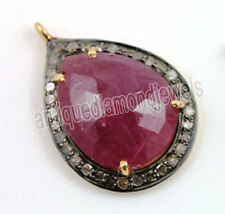 Look Ruby 925 Silver Valentine Pendant 2.10ct Rose Cut Diamond Antique Victorian