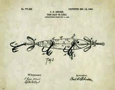 Fishing Lure Patent Poster Art Print Antique Muskie Walleye Reels Fish PAT290