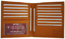 RFID Signal Blocking Cow Leather European Hipster Credit Card ID Tan Wallet