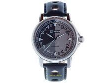 24 Stunden Uhr CL1-1212 von NO-WATCH Quarz 750 Stück Lederband 5atm Saphirglas
