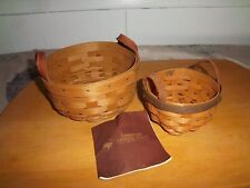 Longaberger Set of 2 Handcrafted Baskets with Leather Handles 2004 and 2007 Rare