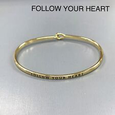 Gold Finished Follow Your Heart Message Engraved Brass Plated Bangle Bracelet